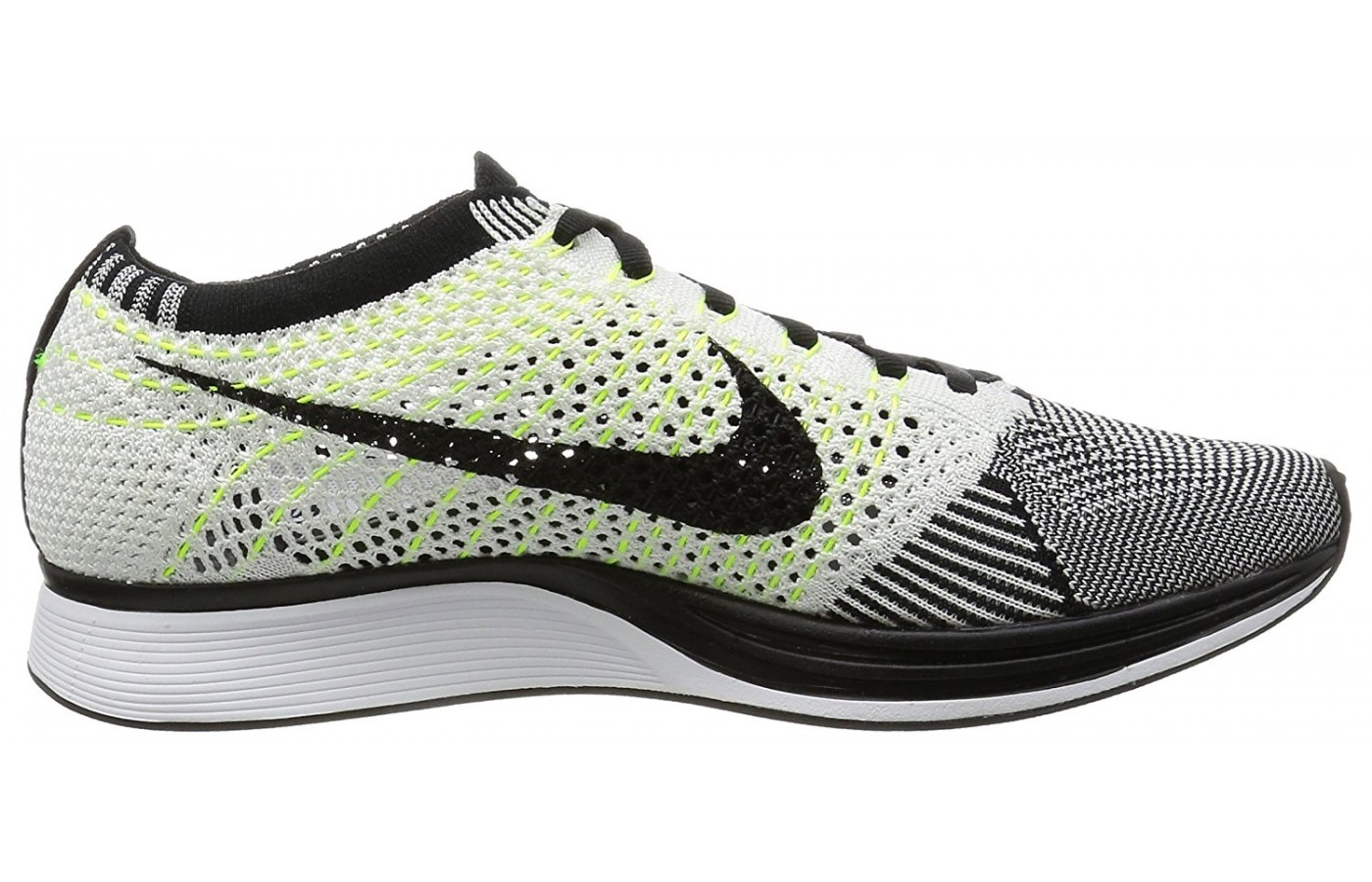 Side view of the Nike Flyknit Racer running shoe