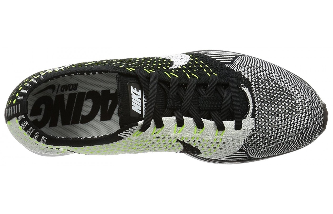 Top view of the Nike Flyknit Racer running shoe