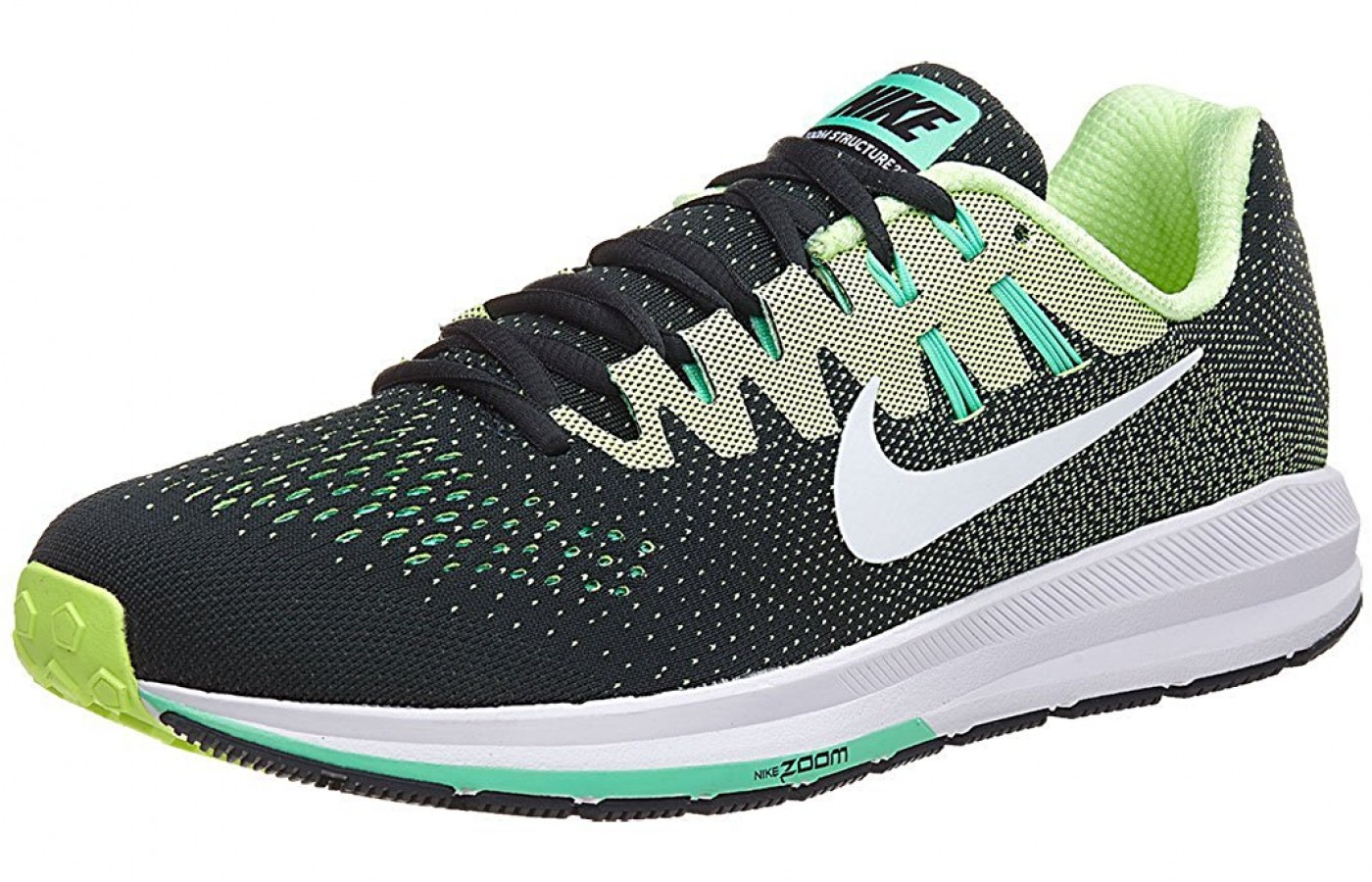 The Nike Air Zoom Structure 20 running shoe-black and green colorway