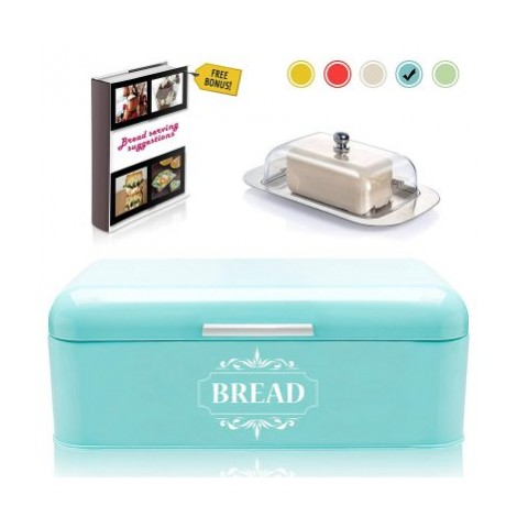 Vintage Bread Box For Kitchen Stainless Steel Metal in Retro Turquoise