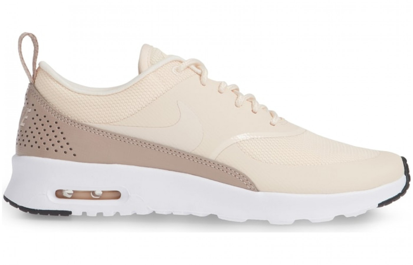 View of Nike Air Max Thea from the side, notice the thinner toe sole and the thicker heel for better design and better shock absorbtion