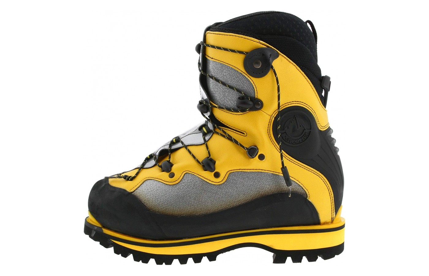 The beefy ankle support of the La Sportiva Spantik