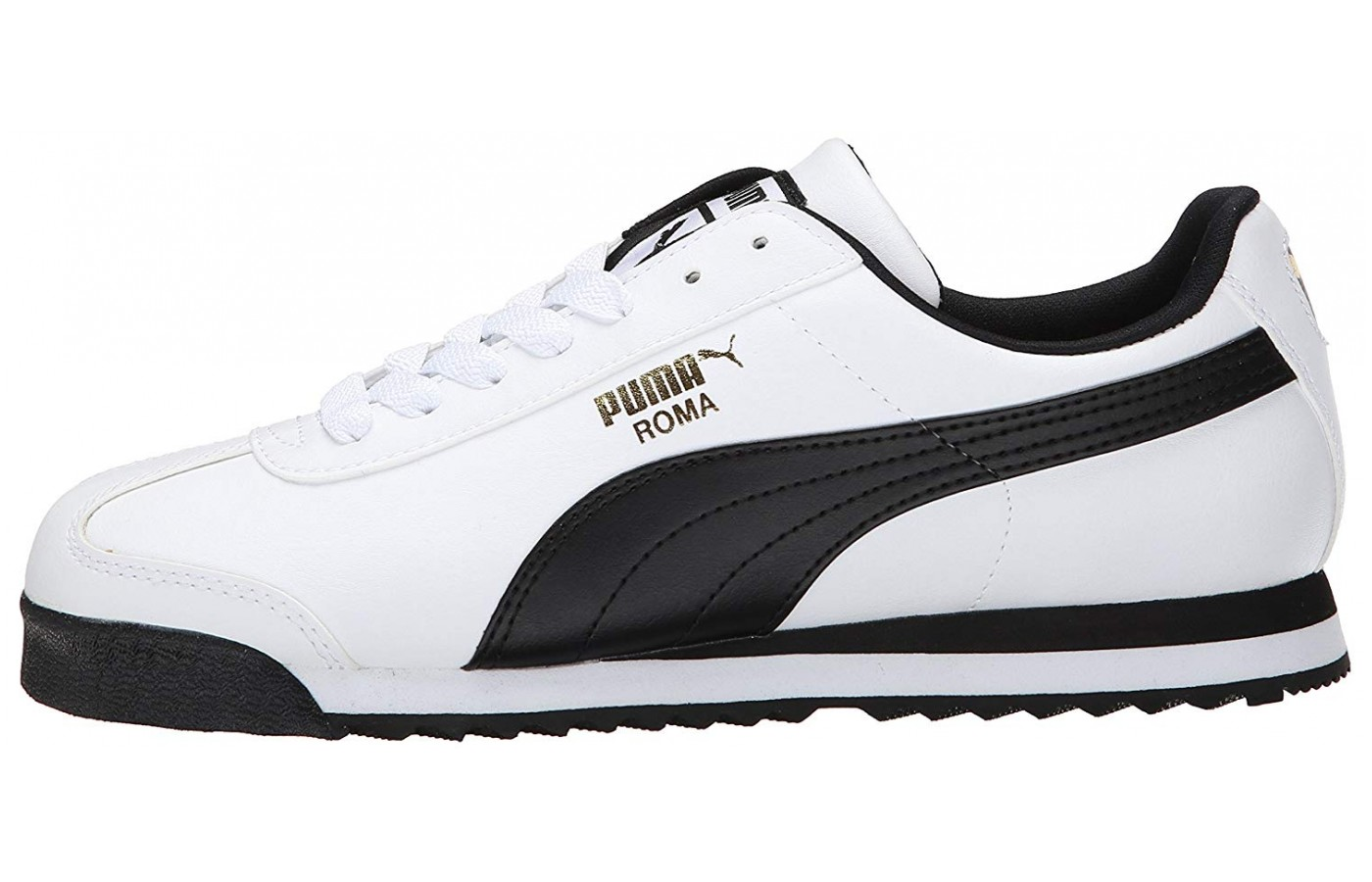 Notice the striking profile of the sawtooth tread on the side view of the PUMA Roma.