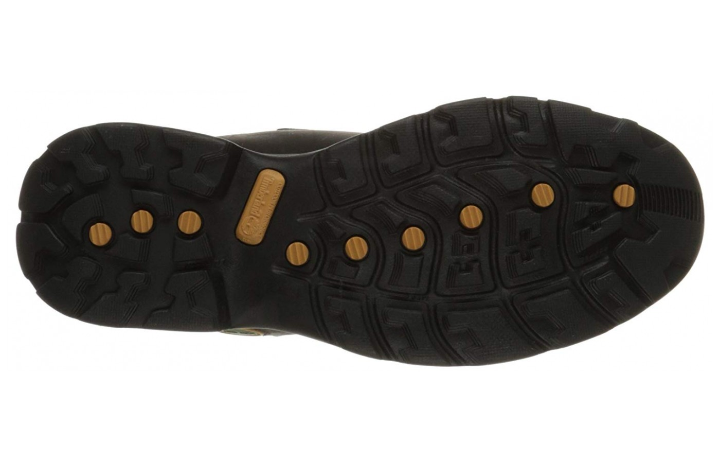 The sole has a one and a half inch heal that offers a little leverage from the ground when crossing wet areas.