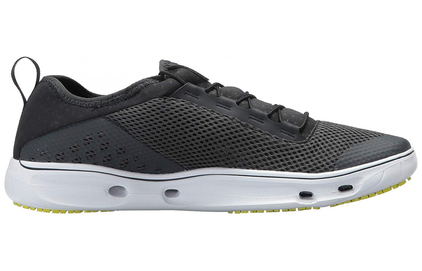 The midsole features holes that aid in draining moosture.