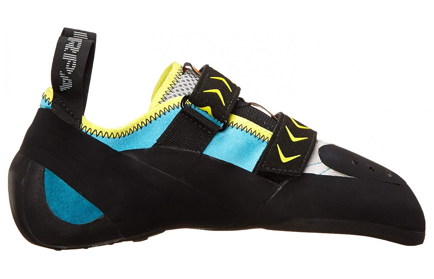 The Scarpa Vapor has a slight downturn.