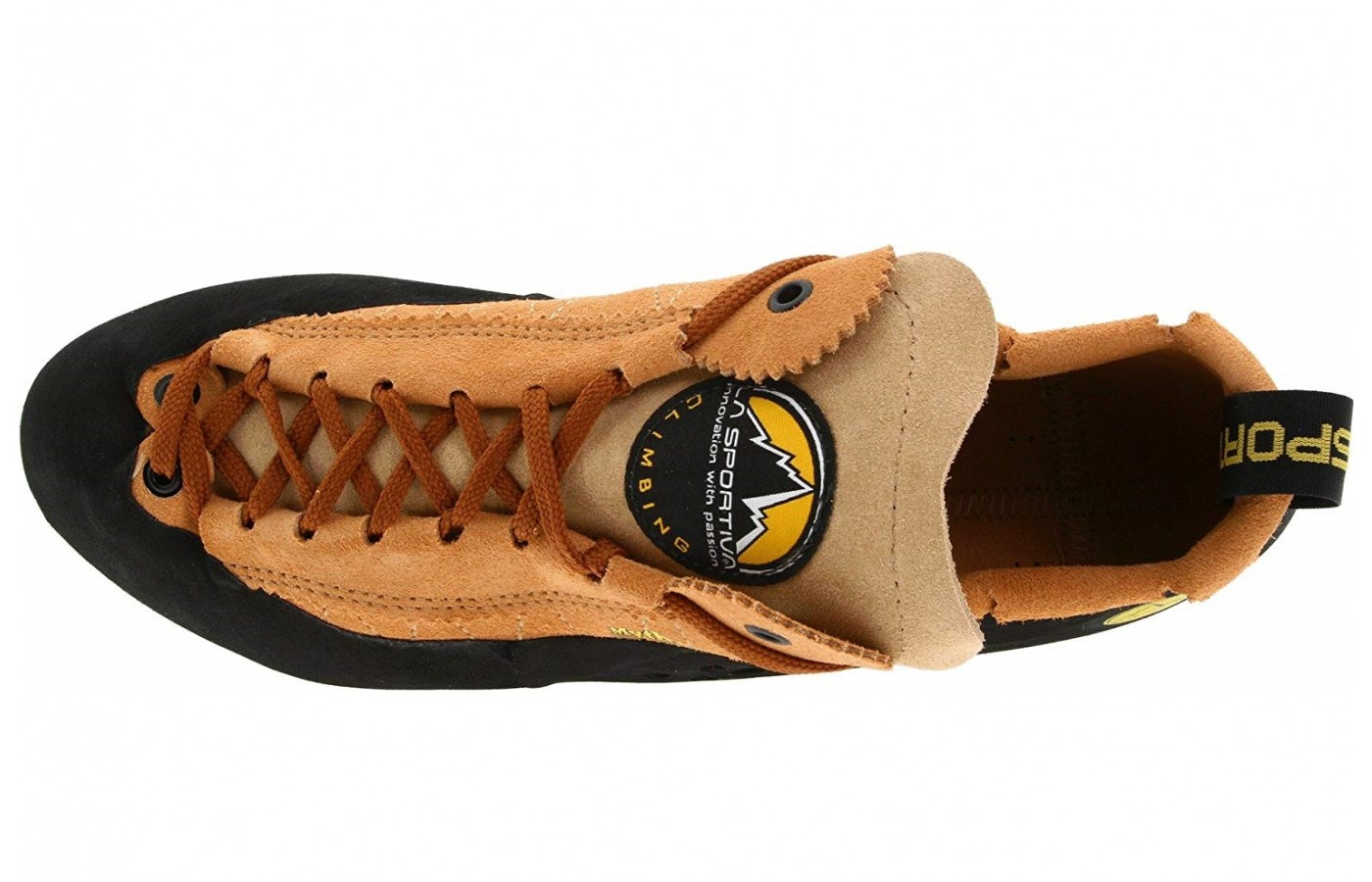 The La Sportiva Mythos has an unlined upper to better stretch across the climbers foot.