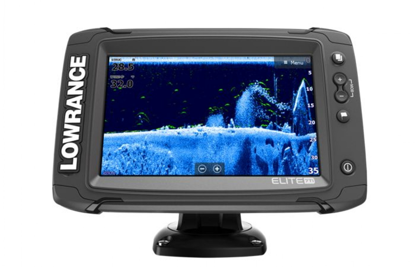 The Lowrance Elite 7 TI also offers an LED-blacklit touch screen display.
