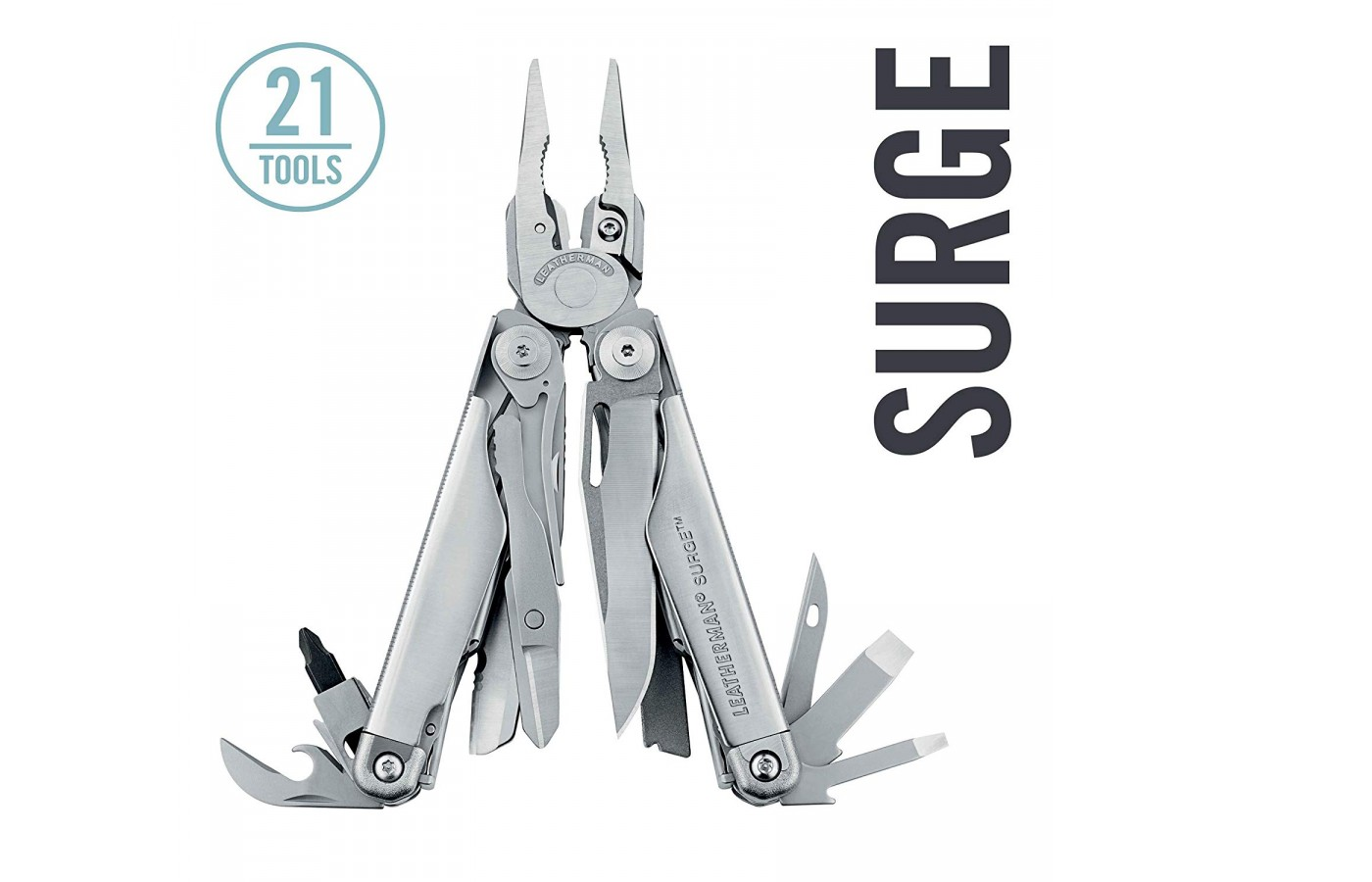 The Leatherman Surge multi-tool in stainless steel.