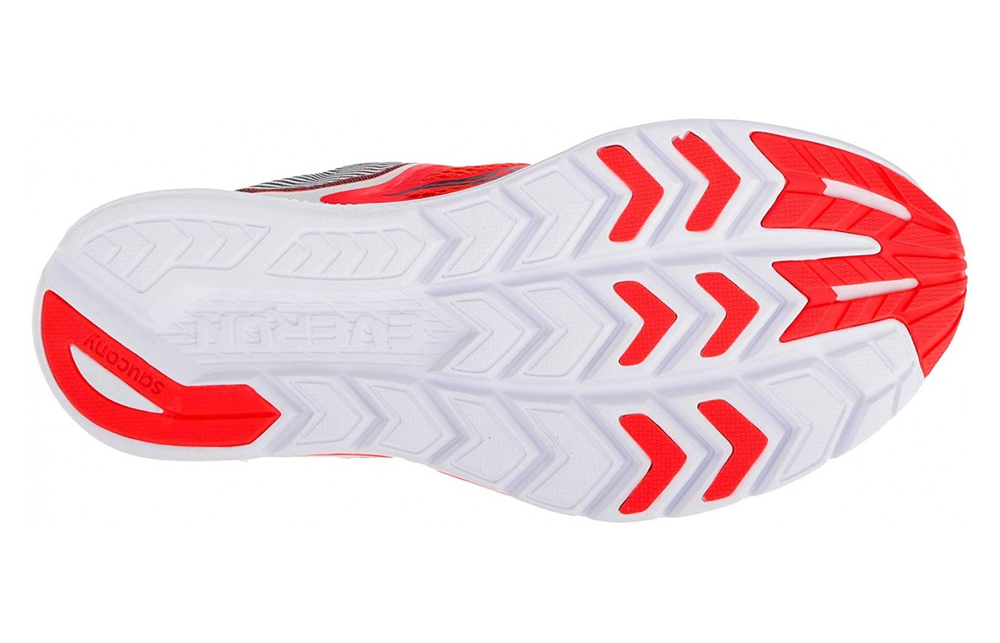 Saucony Kinvara 9 cut down on weight by only placing thick rubber where needed.