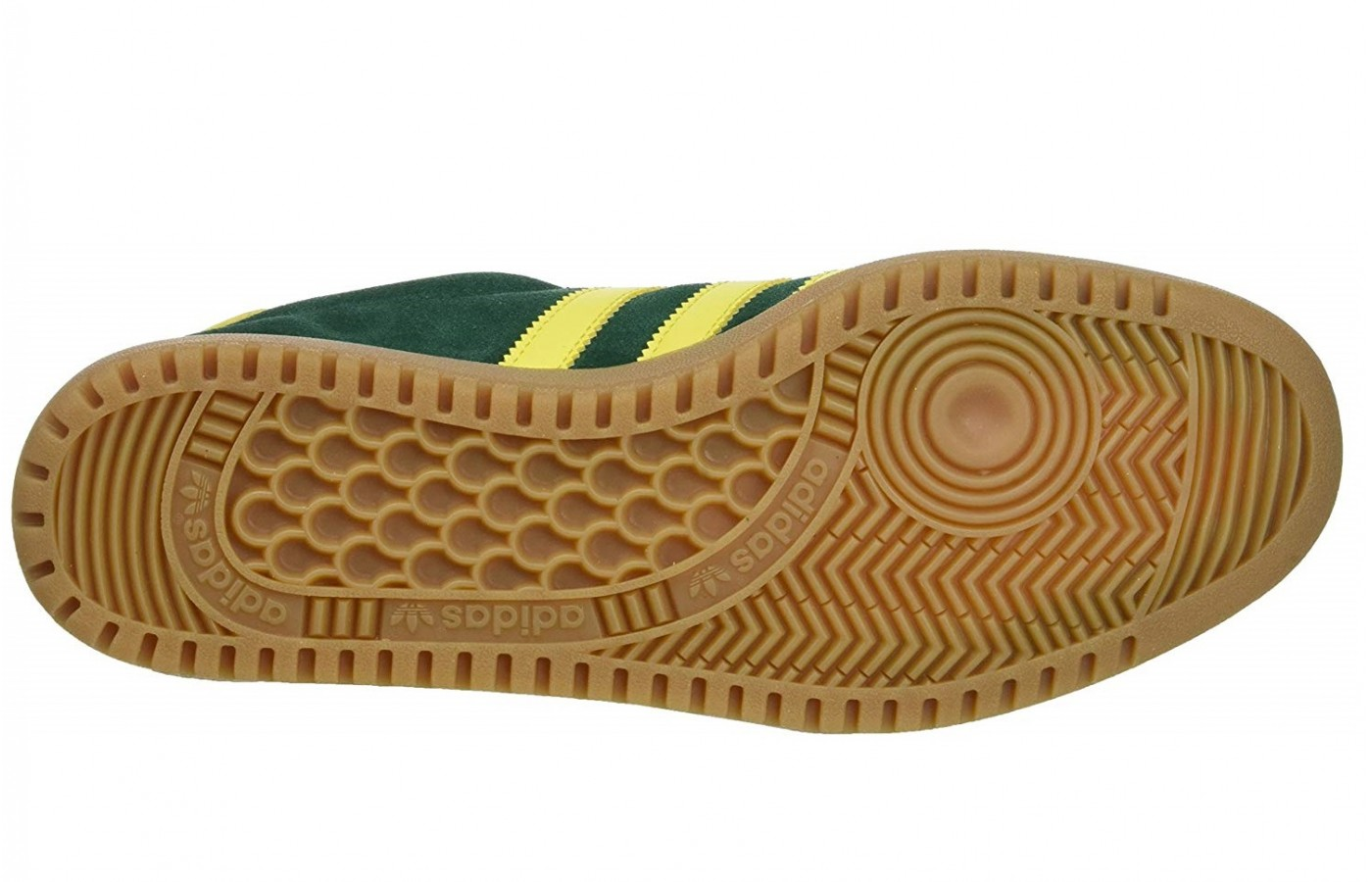 The outsole of this product is made of a gum rubber material.