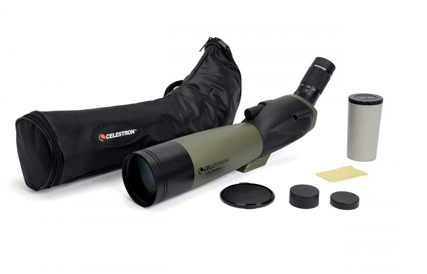 The Celestron Ultima 80 comes with protective accessories including eye covers and a soft carrying case.