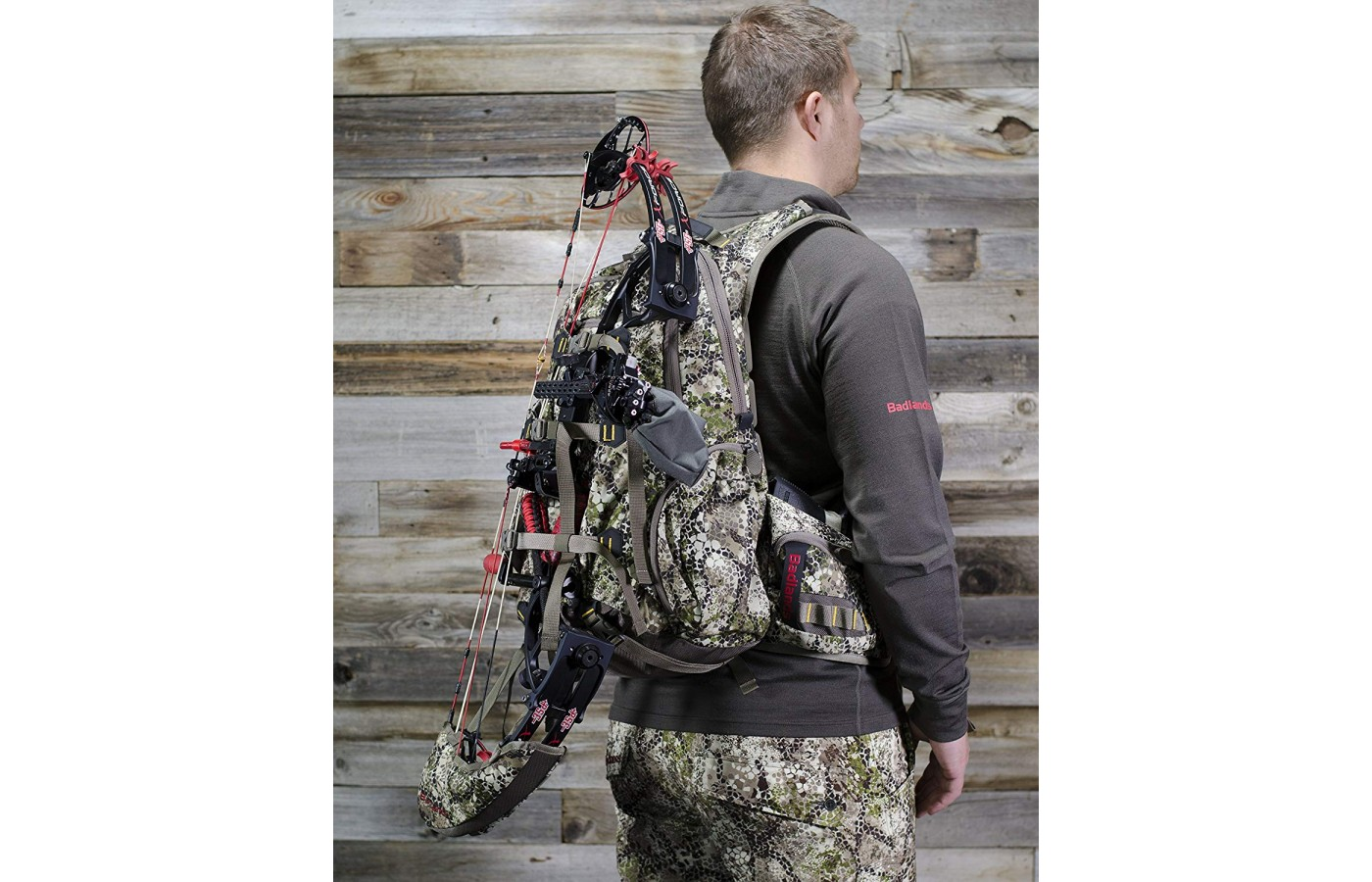 The pack has the ideal compartment for a bow and arrows, a gun, or whatever rifle is preferred.
