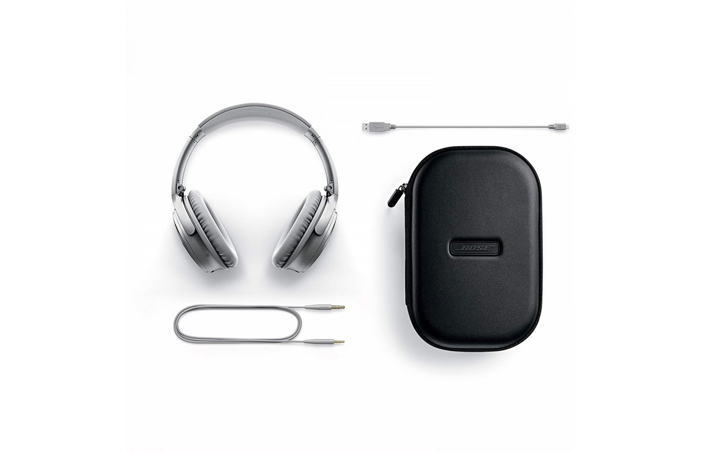The Bose QuietComfort 35 comes with a wired option as well as a carrying case and charging cord.