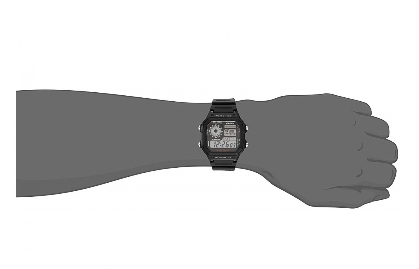 The Casio  AE1200WHD-1A is light on the wrist.