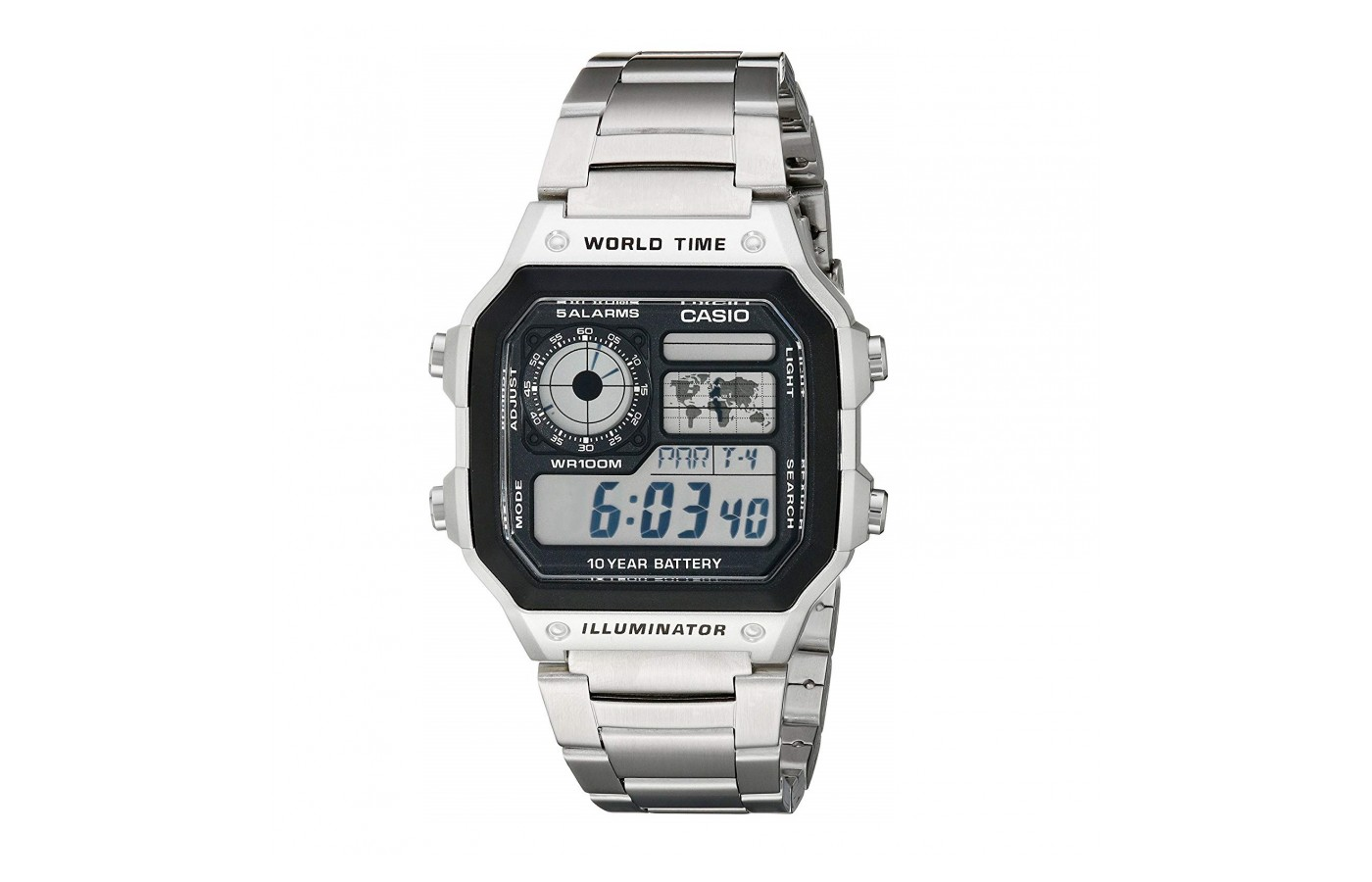 The Casio AE1200WHD-1A comes in both metal and plastic for individual styles.