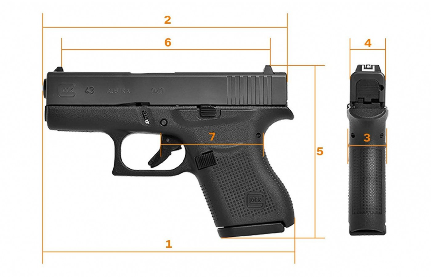 At its widest point, the slide lock, the pistol is 1.02 inches wide.