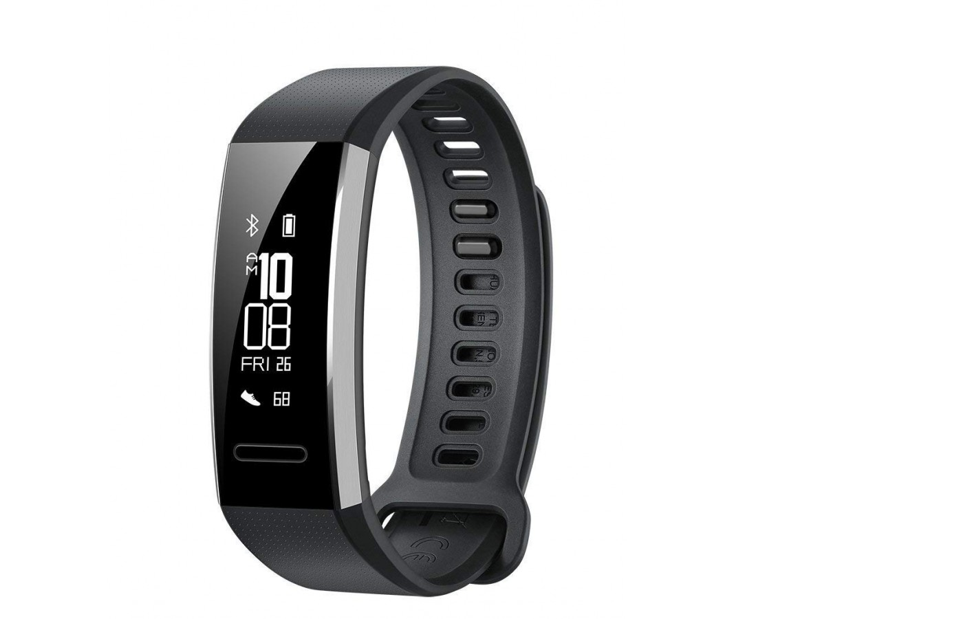 The Huawei Band 2 Pro is a non-interchangeable style band with a PMOLED screen and sleep, single-color design for simplicity and function.