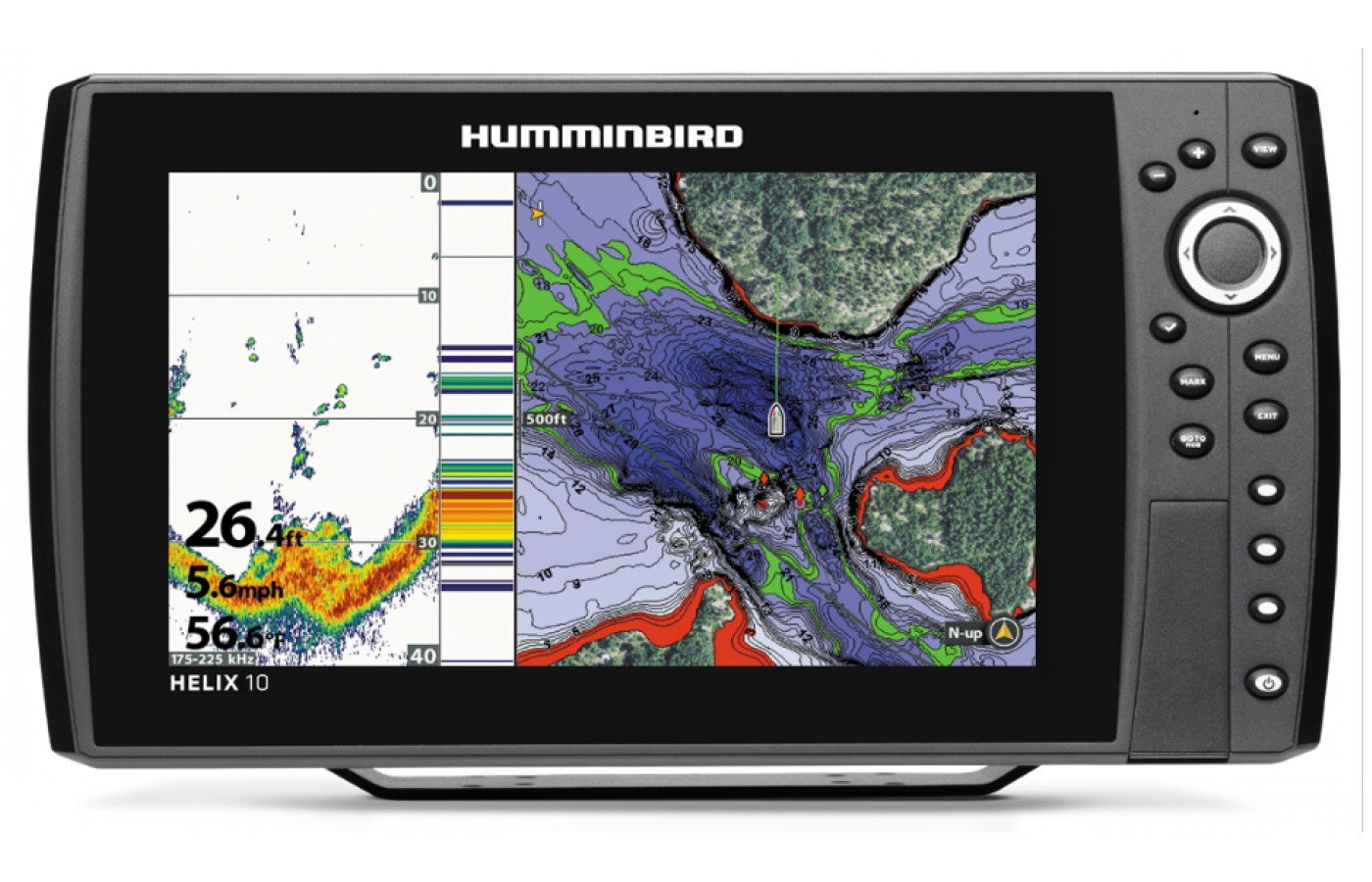 Humminbird HELIX 9 has an automap GPS that lets you track and set waypoints.