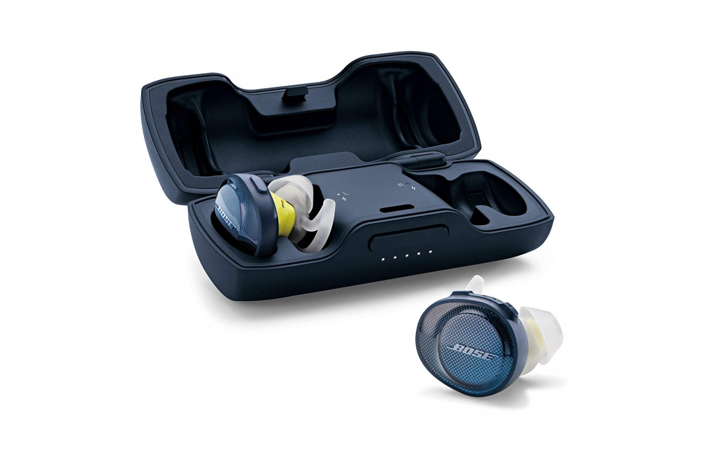The earbuds come with a hard plastic case and charging cord.