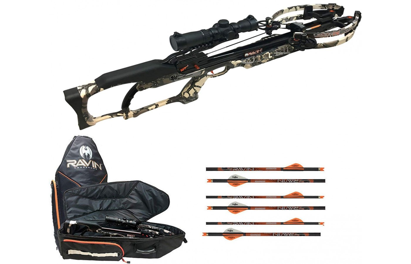 A mounting bracket, Versa-Draw cocking handle, quiver, six Ravin arrows, and the Vortex Strike Eagle scope that can be mounted to an adjustable riser level and jack plate are included.