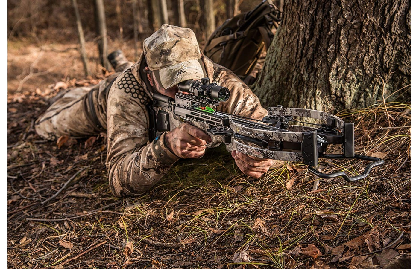 The narrow crossbow is great for tree blind use.