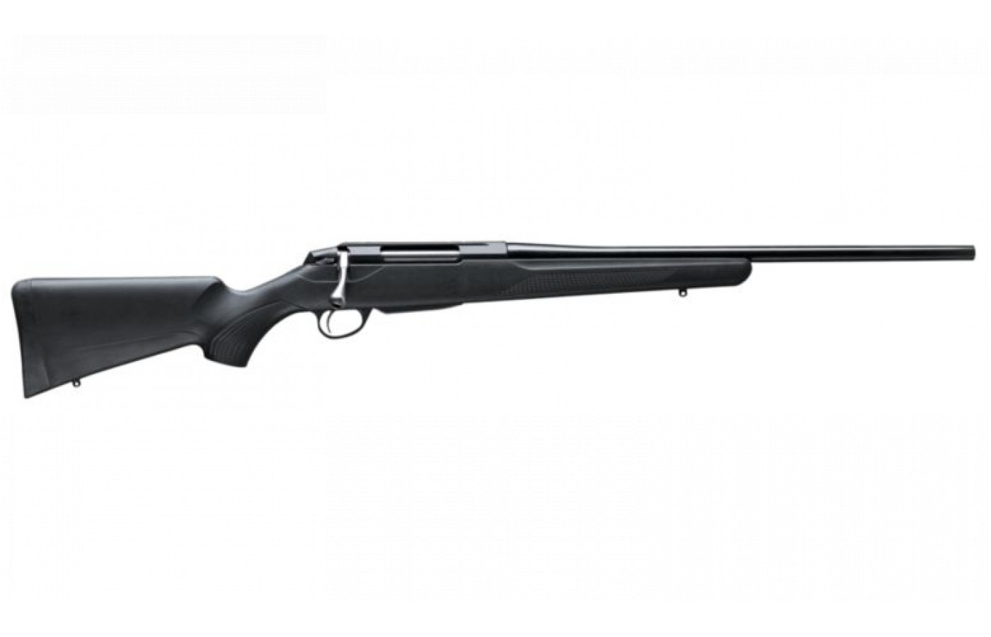 This particular rifle comes with one weatherproof matte black synthetic stock.