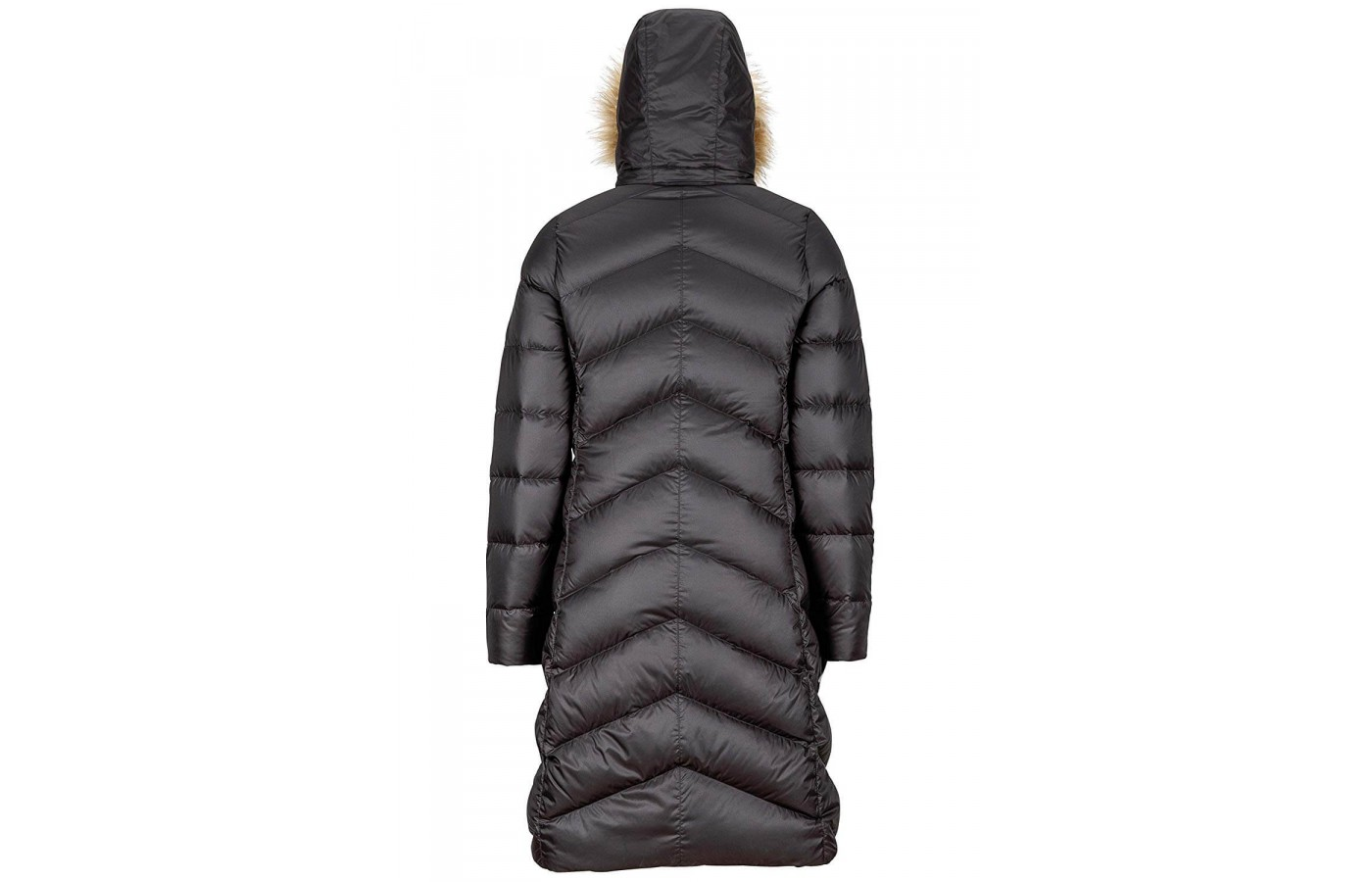 The knee-length coat with the hood on and fully zipped keeps the person inside seriously cozy.