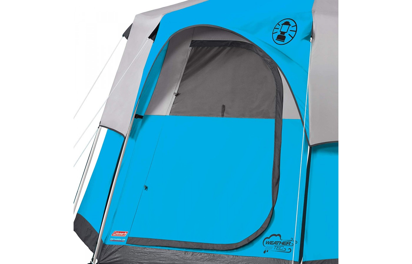 The Coleman Cortes Octagon 8 also offers a structured door that opens and closes without having to zip up the tent.