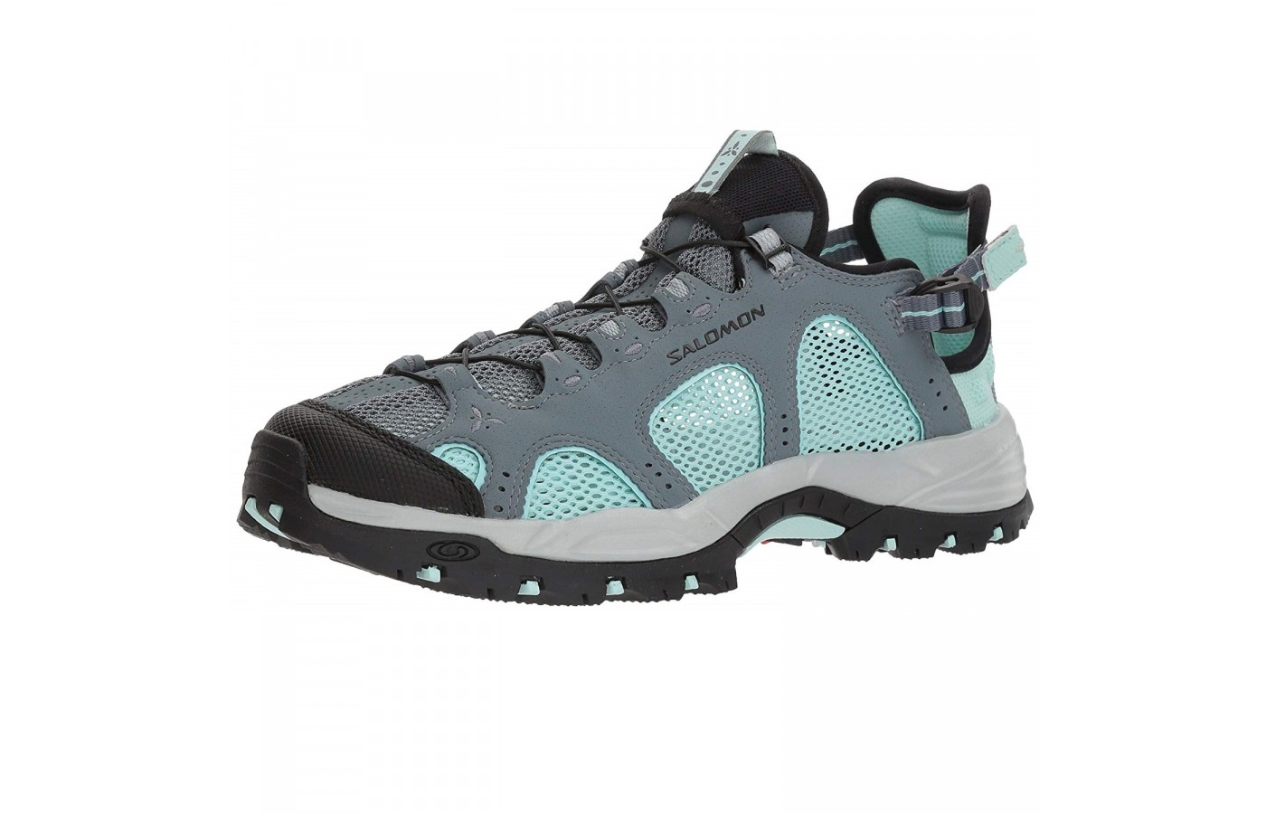 The Salomon Techamphibian 3 offers an elastic lacing system with back straps for a more secure and customized fit.