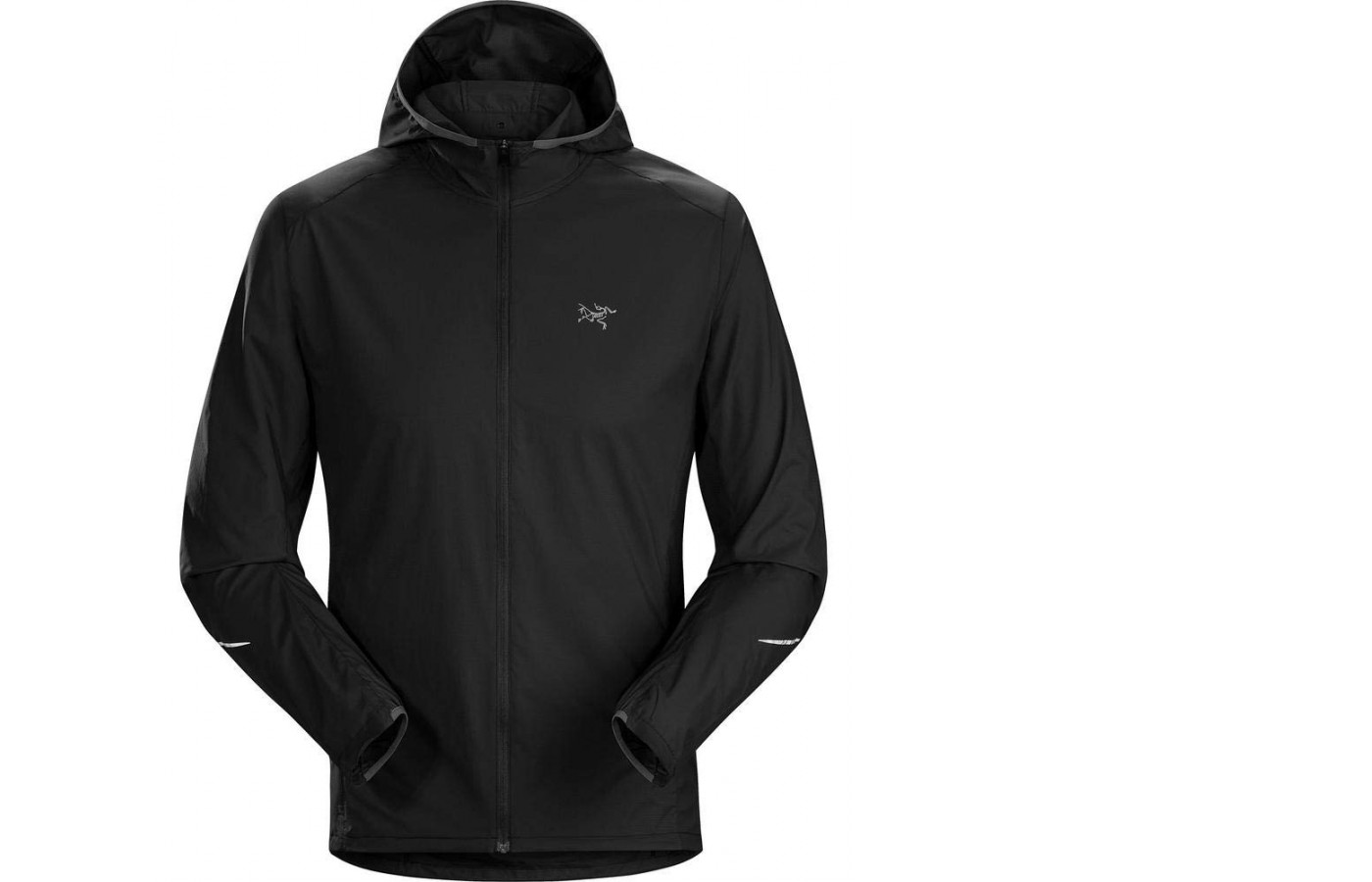 The Arc'teryx jacket is perfect for wearing in windy conditions.