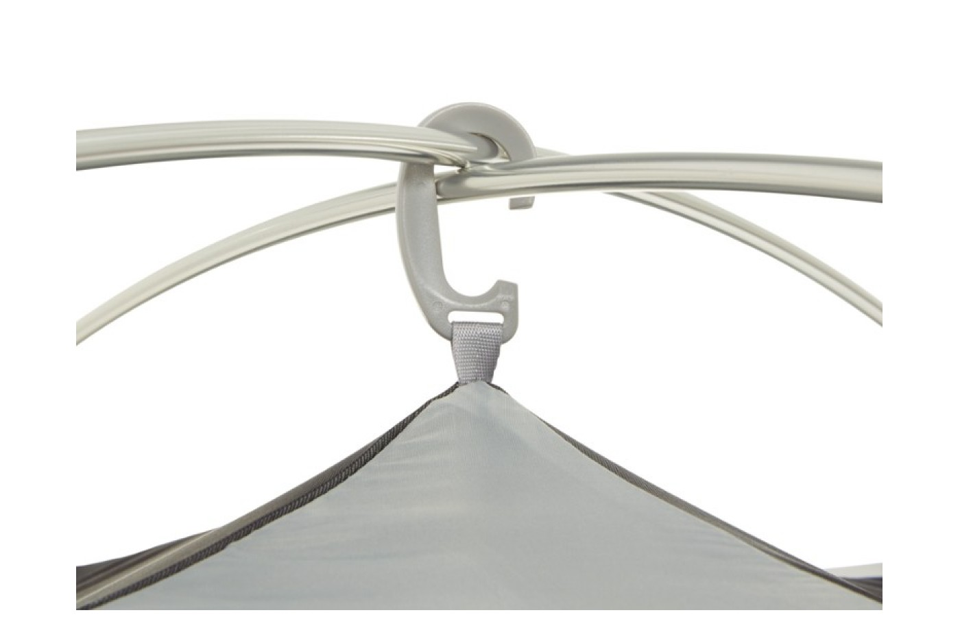 A big polymer plastic hook links the intersection of the tent poles at the top of the tent.
