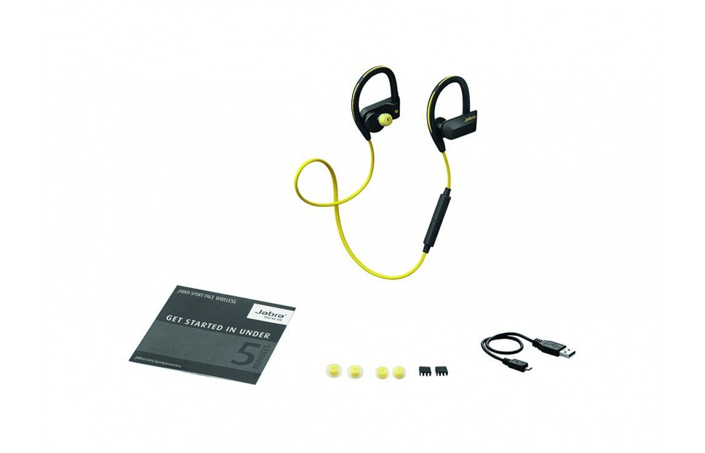 Beneath the headphone is the manual. An inner box holds a micro-USB charging cable and two extra pairs of ear gels.