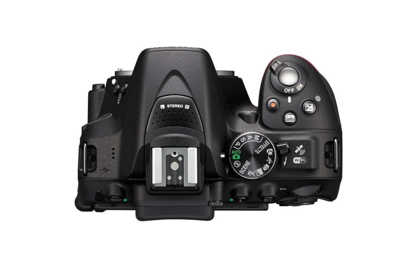 The exposure compensation, info, and record buttons are behind the power switch and shutter button combination.