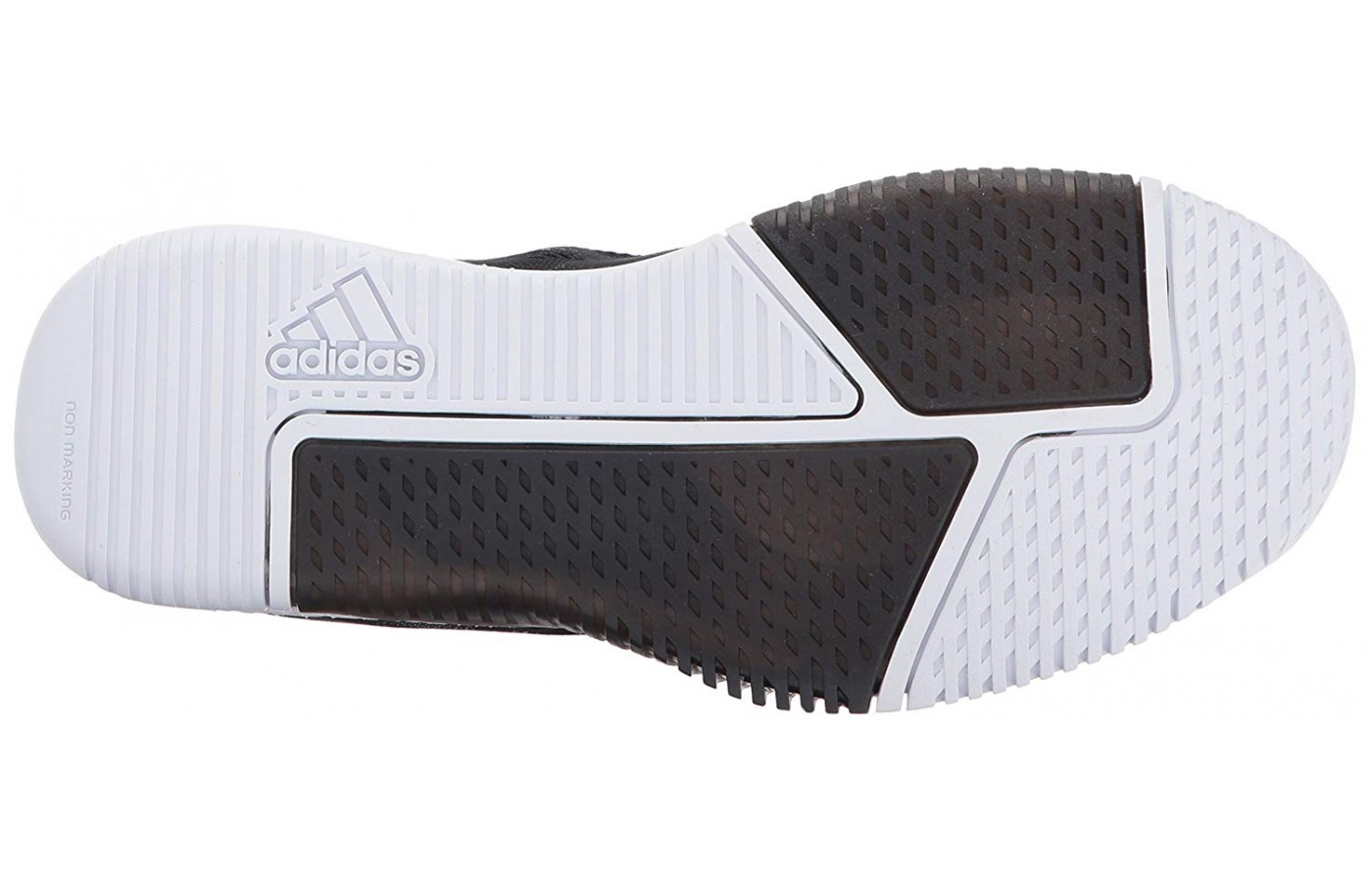 An omnidirectional tread pattern is affixed to the training shoe outsole.