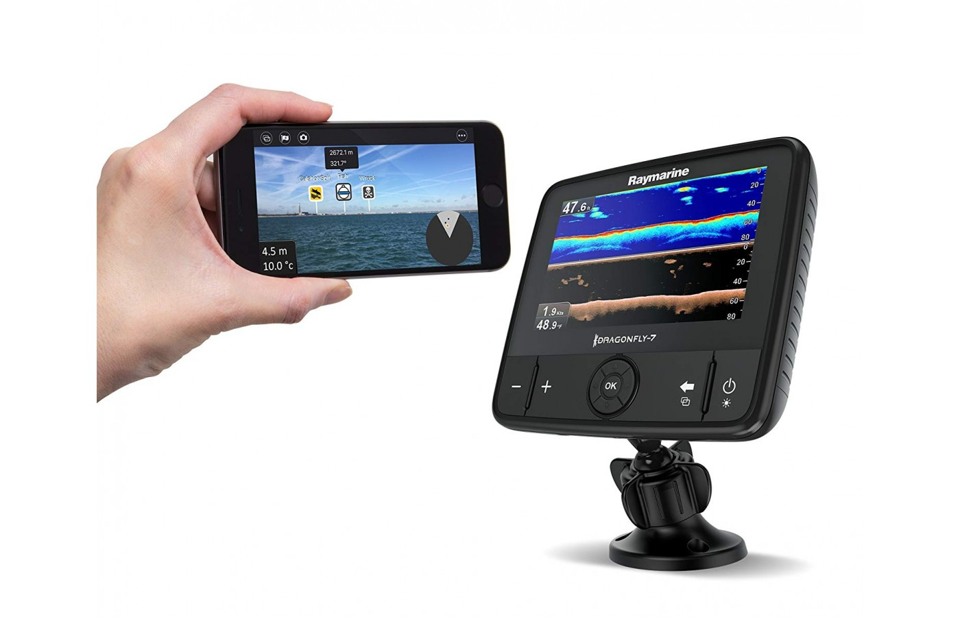 The newer device has built in Wi-Fi that allows others to download information on a smartphone that is the same as the fish finder.