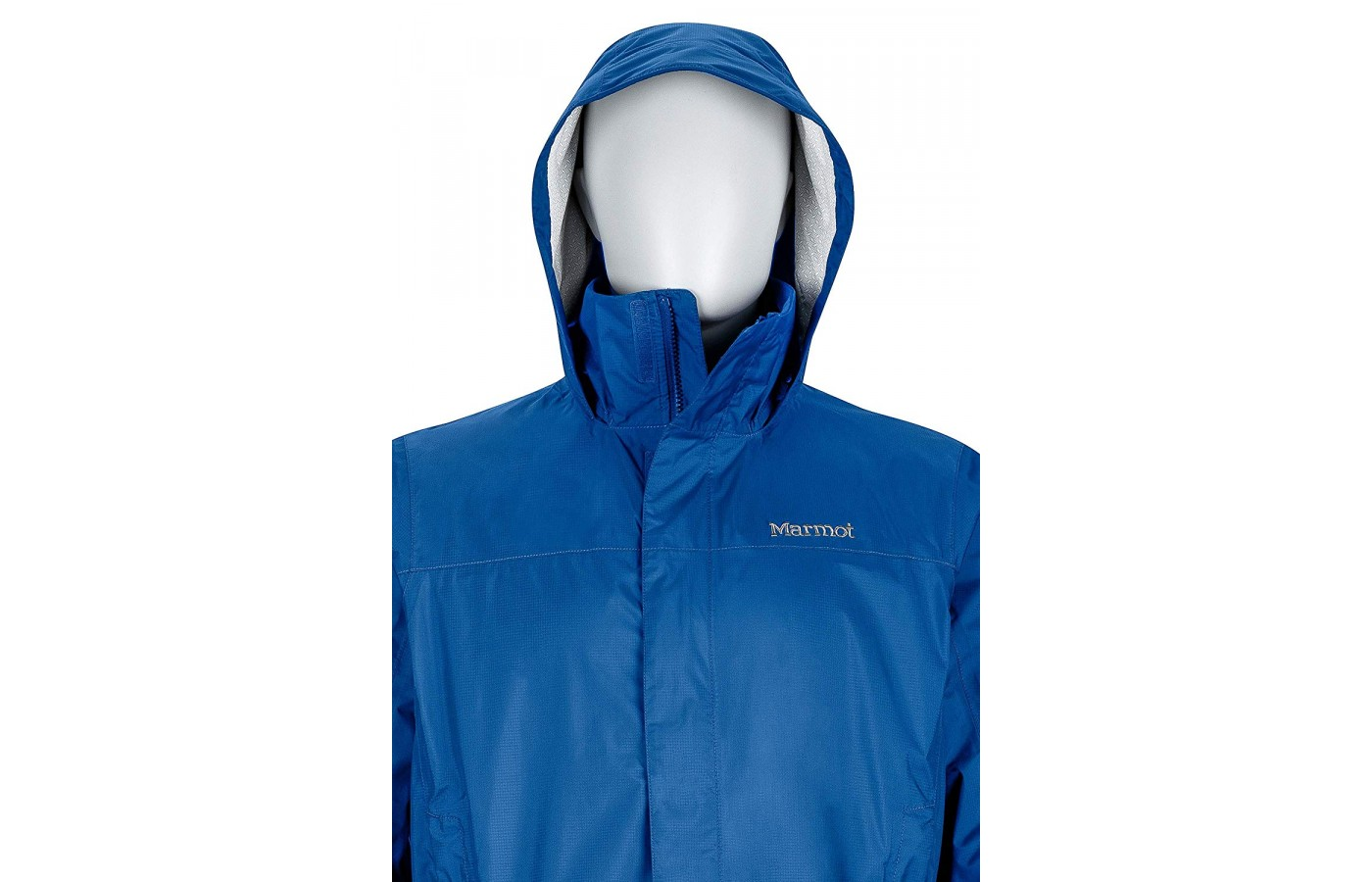 The rain jacket hood has two adjustable elastic cords around the face.