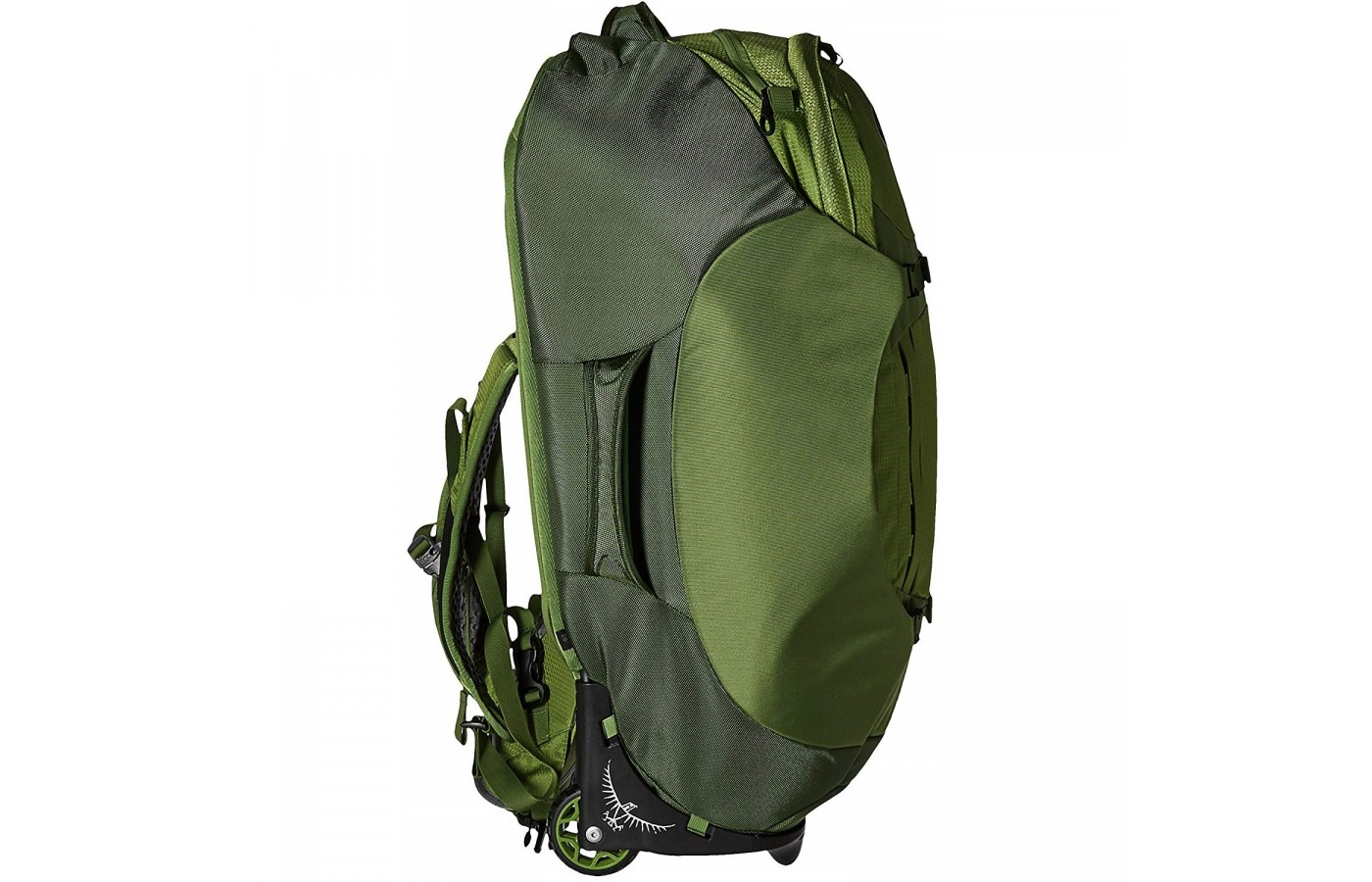 The Osprey Sojourn 80 includes both straps and wheels for optional movement options.