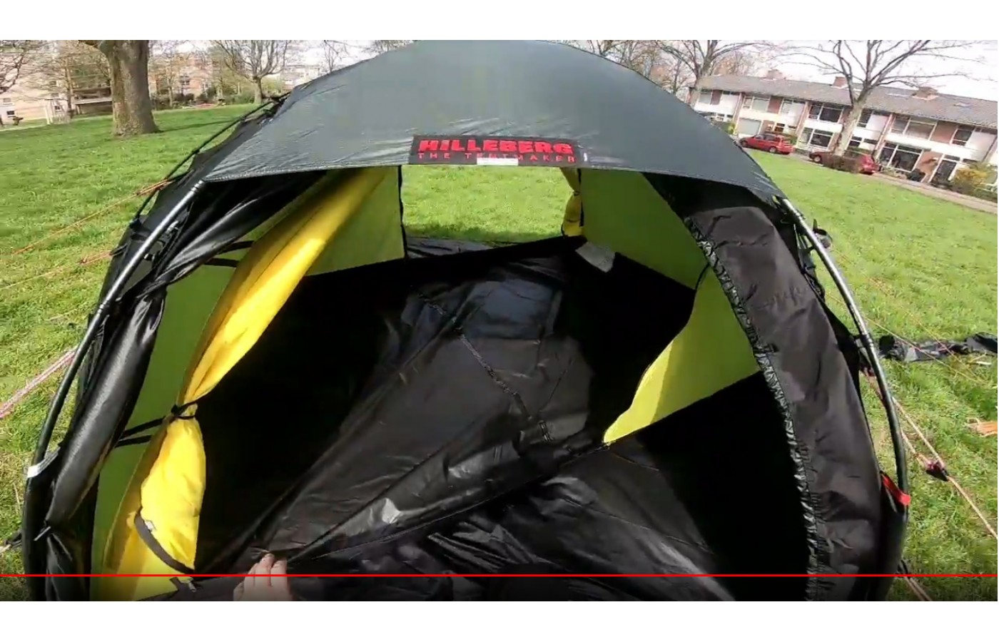 It is triple treated to protect against water on the outer shell of the tent.