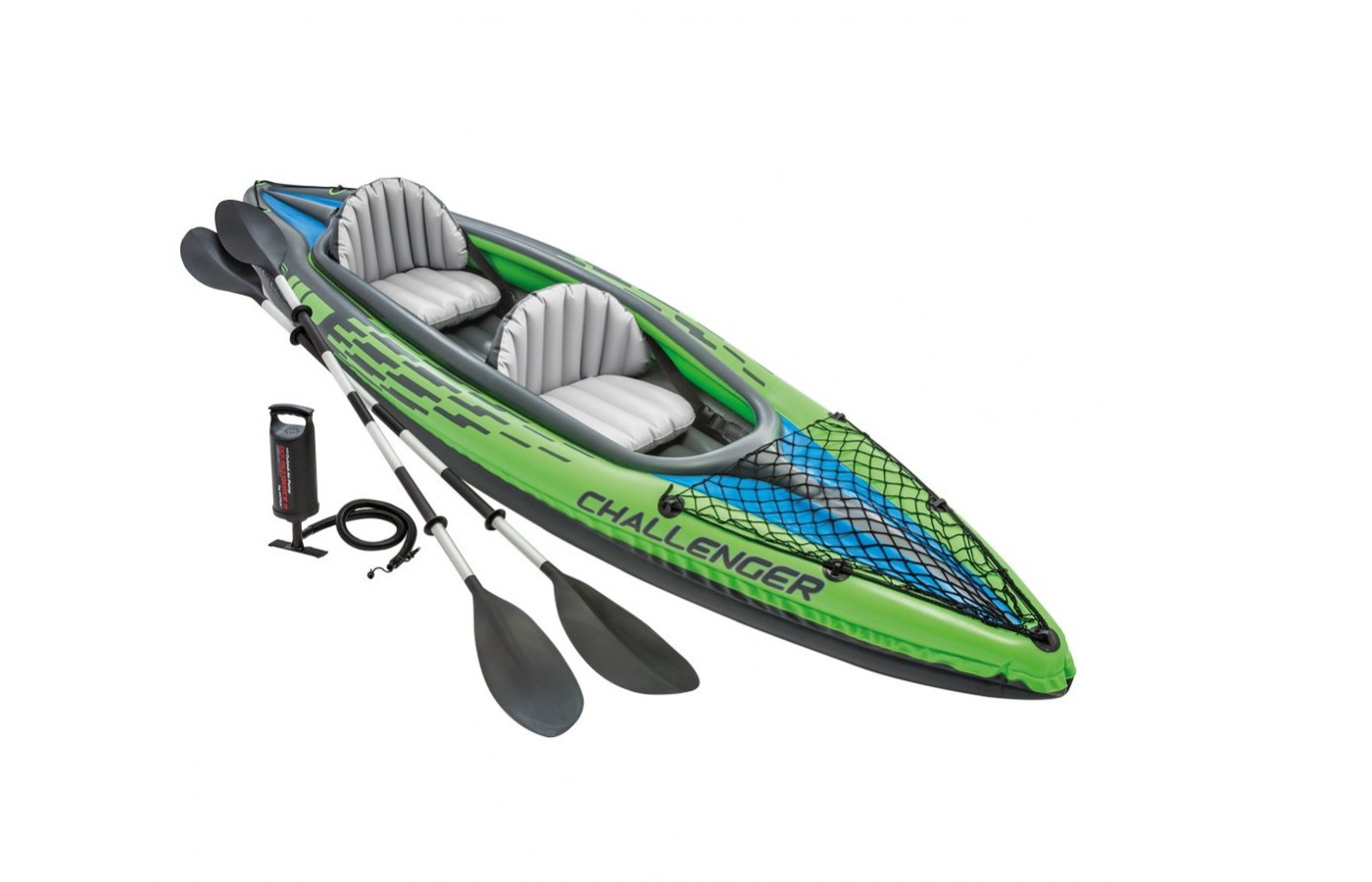 The Intex Challenger K2 Kayak is a fully inflatable 2-person kayak for easy storage.