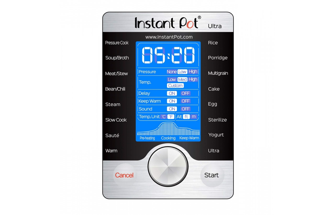The Instant Pot Duo offers a large and clear display for ease of use.