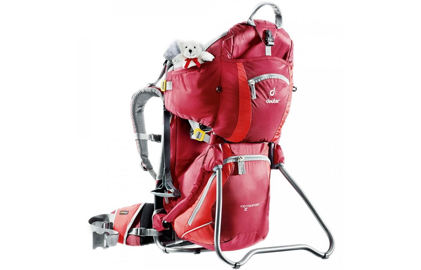 The Deuter Kid Comfort II can oth be carried on the back and can stand for stops along the path.