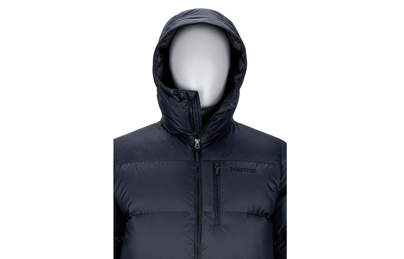 The Marmot Guides Down Hoody offers a close fitted hood and a wind protection flap inside the zipper for security and protection.