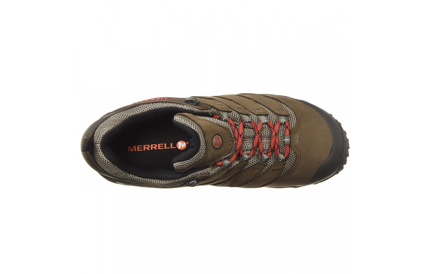 The Merrell Chameleon offers a protective toe cap for protection of the toes.