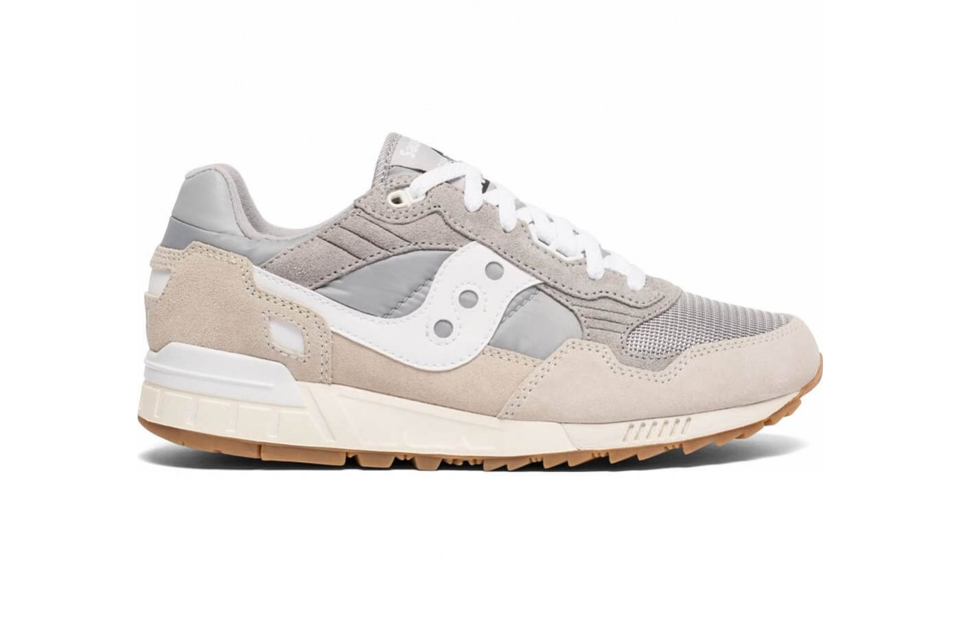 The Saucony Shadow 5000 offers suede and mesh uppers for breathability and durability.