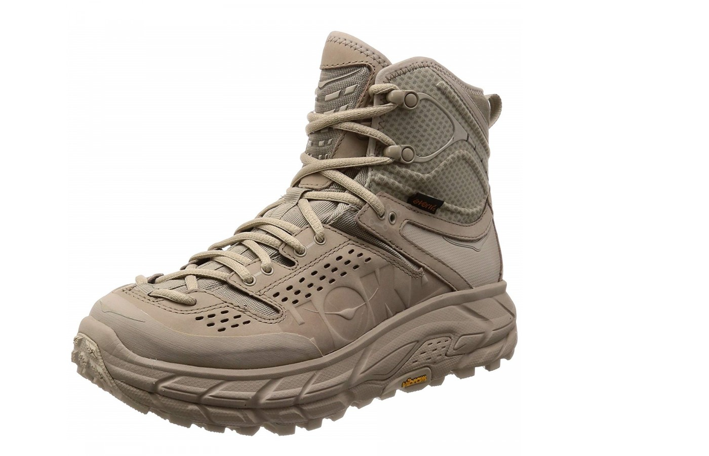 The Hoka One One Tor Ultra Hi WP offers a full-grain leather upper for style and durability.