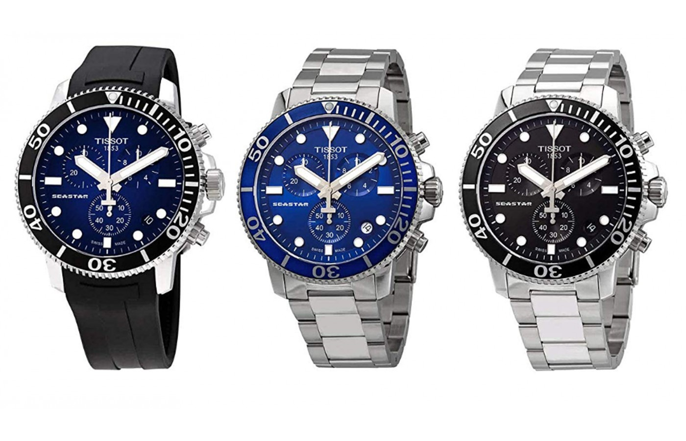 Just 3 of the offered appearances of the Tissot Seastar 1000, which holds a lot of appearance options.