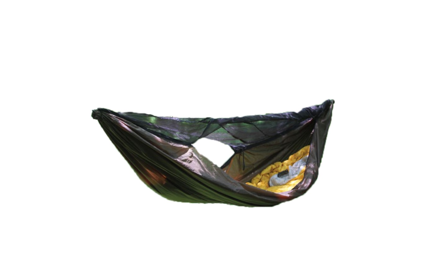 The built in netting can be fully unzipped on one side.