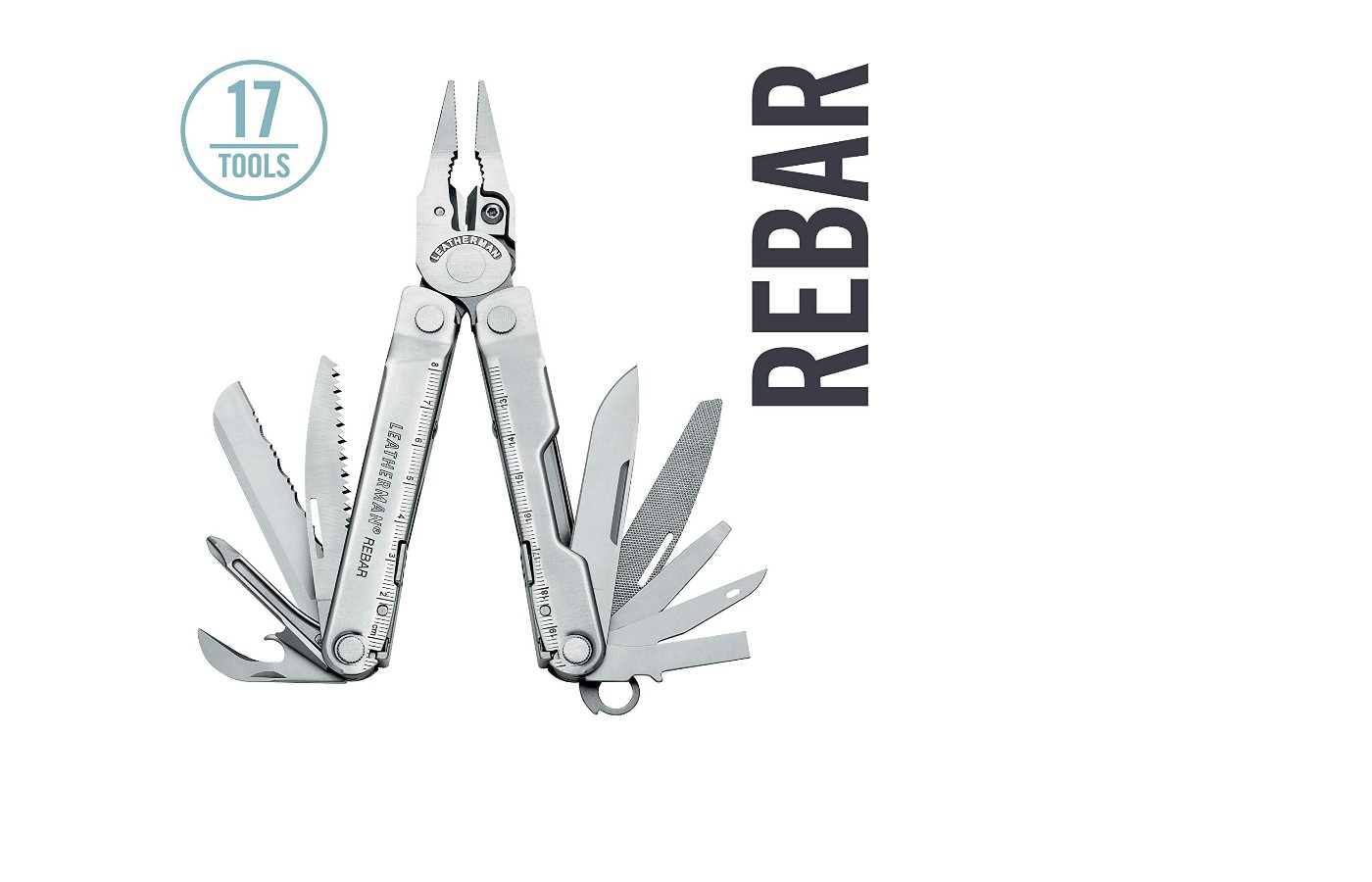 The Leatherman Rebar has 17 tools including two knives and a saw.