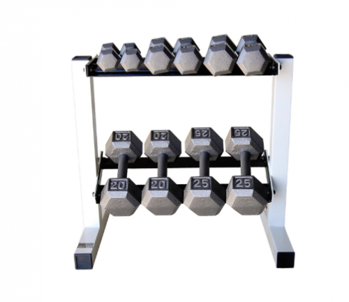 Cap Barbell Solid Hex Dumbbell Set with Rack